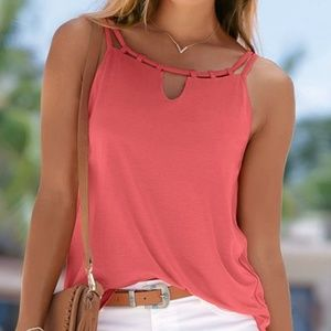 Coral Tank Top KeyHole Strappy Neck Large